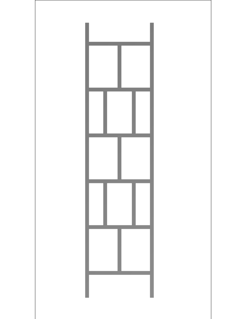 Running Bond: Posts Are Six Foot Tall. The Motif Is Staggered Openings. Two  On One Row Then One On The Next. Outside Panel Width Is 16 Inches.