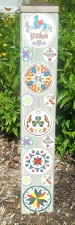 Garden Art Peace Pole -  Hex Signs