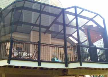 Elevated Deck Screen Enclosure - Roberts Garden